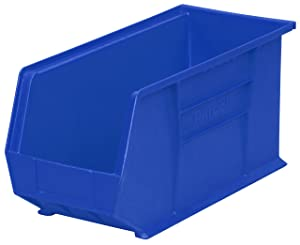 Akro-Mils 30265 Plastic Storage Stacking Hanging Akro Bin, 18-Inch by 8-Inch by 9-Inch, Blue, Case of 6