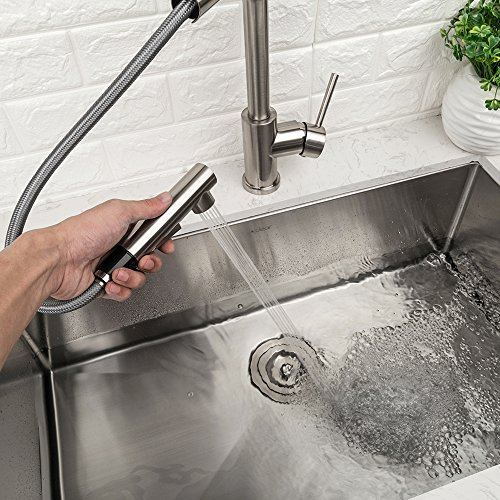 LORDEAR Bar Sink Faucet,Modern Style Stainless Steel 2 Water Function Setting Single Handle Pull Out with Sprayer Wet Bar Brushed Nickel Kitchen Faucet, Pull Down Kitchen Sink Faucet by Lordear (Image #5)