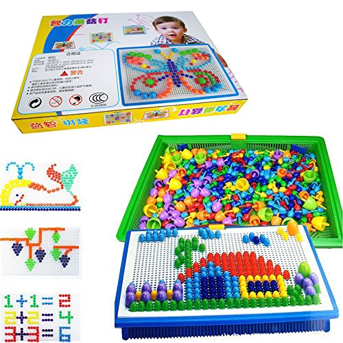 LiCB 296 Pcs Pile up Toys Diy Science kids Mushroom Nails Mosaic the Composite Picture Jigsaw Puzzle Game Creative Mosaic Pegboard Educational Toys for Children (Random (Mosaic Puzzle)