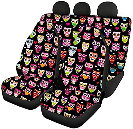 Babrukda Car Interior Accessiores for Women Men-Automative Front Seat Cover and Rear Split Bench Cover Stylish Dirty-Proof Universal Full Set Tropical Paradise Sunrise Pink Beach Coast Sea Palm Trees