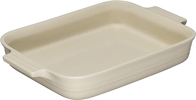 LE CREUSET Bandeja Rectangular, para 6 porciones, Cerámica de gres, Beige (Crema), 32 cm: Amazon.es: Hogar