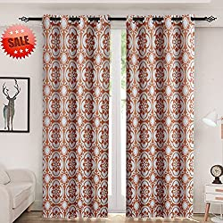Haperlare Medallion Print Blackout Curtains,Medallion/Floral Pattern Thermal Insulated Grommet Blackout Curtain Panels Window Drapes for Bedroom - W52 x L95 Inch,2 Panels, Rust Red/Taupe