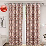 Haperlare Medallion Blackout Curtains, Floral Print Thermal Insulated Blackout Window Curtains for Bedroom,Medallion/Floral Pattern Grommet Top Curtains – W52 x L84 Inch,2 Panels, Rust Red/Taupe Review