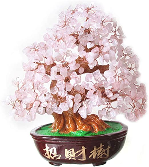 Wealth Colorful Feng Shui Crystal Money Tree Office Home Decor Bring Luck
