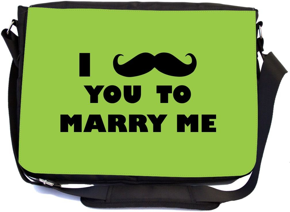 Rikki Knight I Mustache You to Marry Me Lime Green Color Design Multifunctional Messenger Bag - School Bag - Laptop Bag - with Padded Insert for School or Work - Includes Matching Compact Mirror