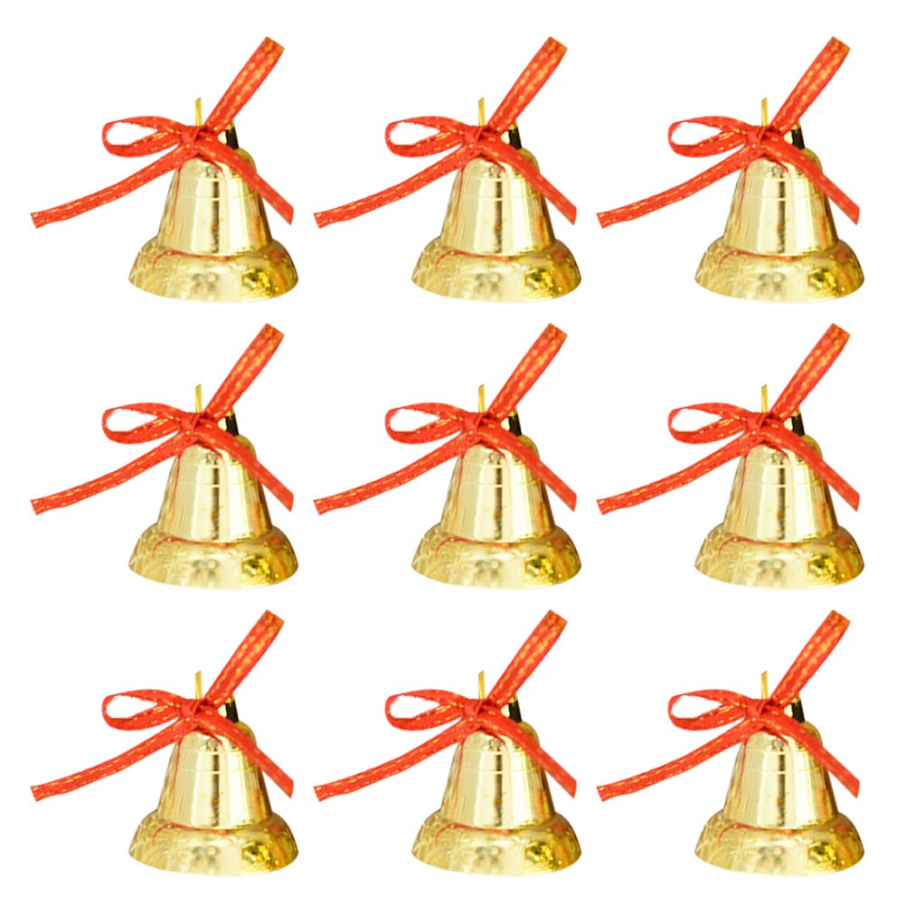 ULTNICE 9pcs Jingle Bells Small Bell Beads Pendants Golden