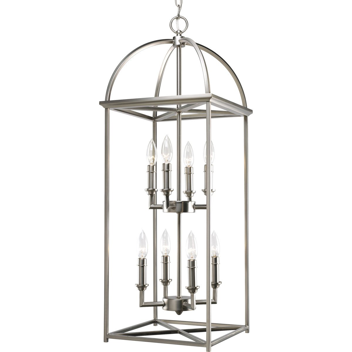 Progress Lighting P3888-126 8-Light Piedmont Foyer Lantern, Burnished Silver