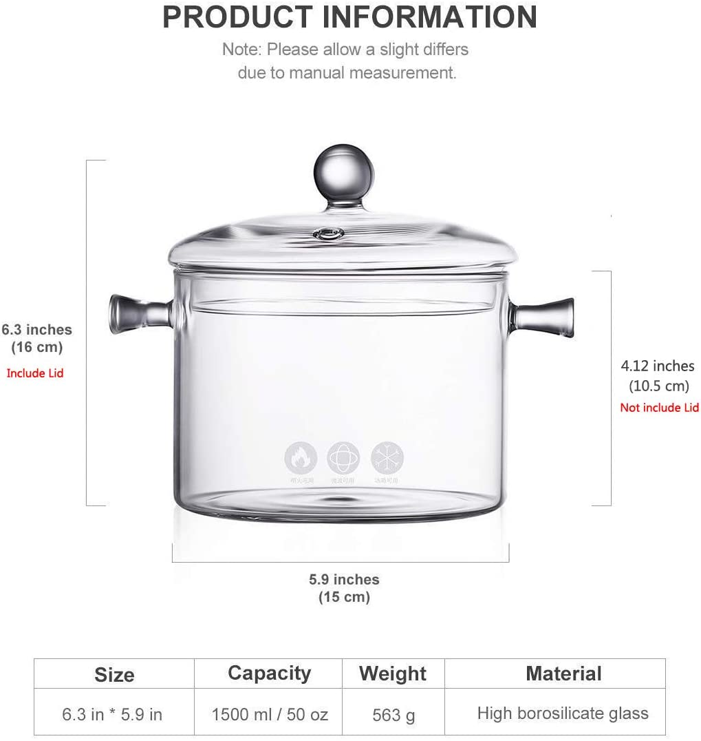 Amazon.com: Cazo de cristal con tapa, 1,5 litros, resistente ...