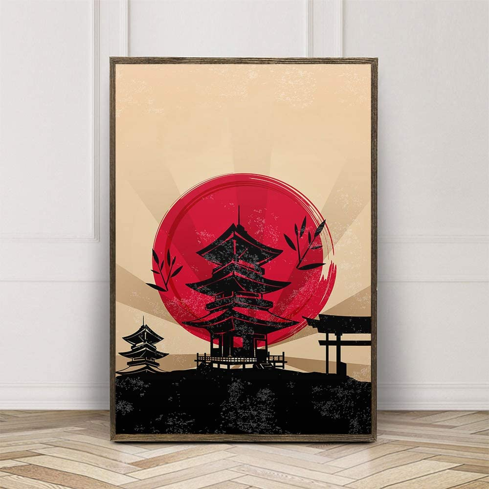 Japanese Style Oriental Art Print Poster Canvas Wall Art Picture, Unframed, for Home Decor (color8, 16x24 inch)