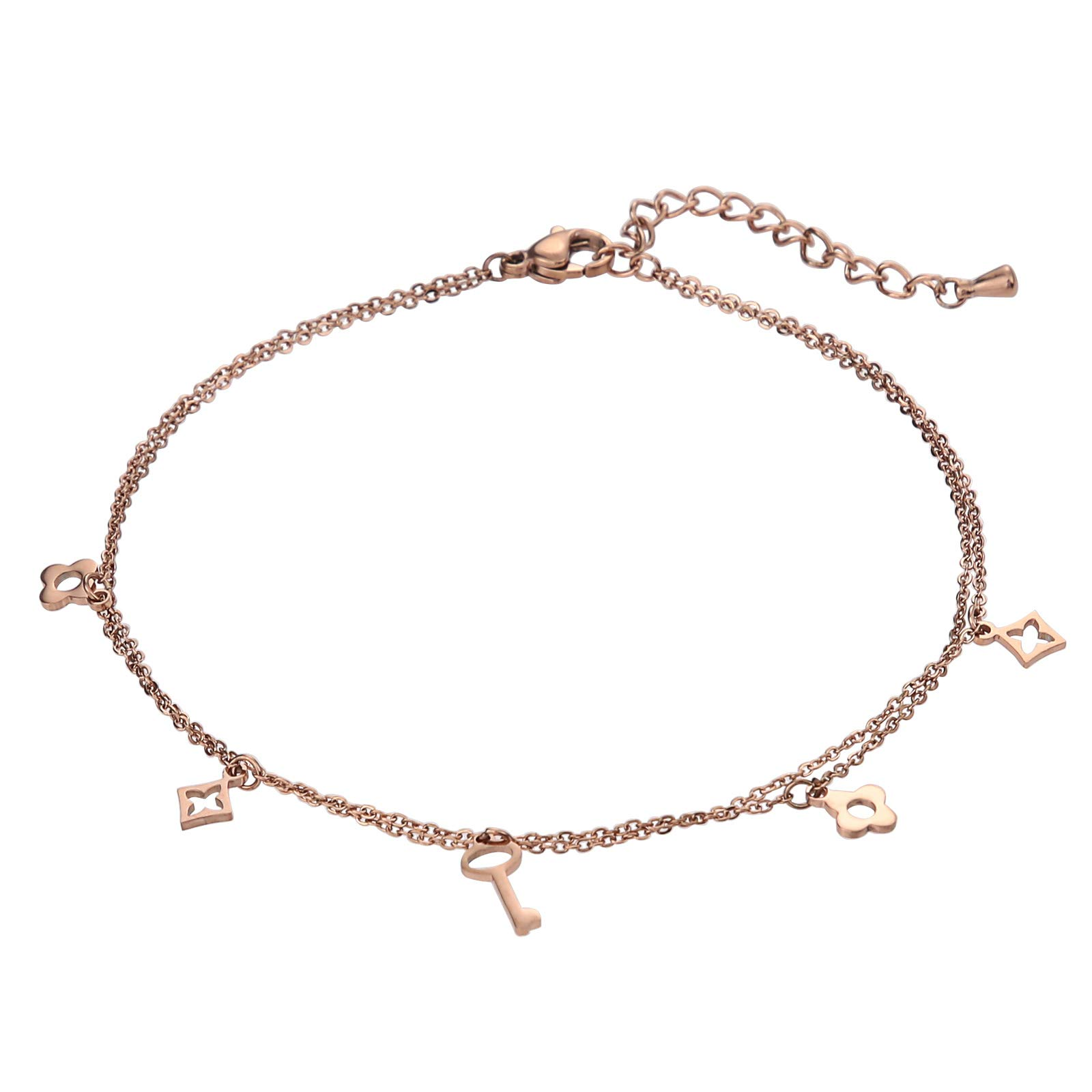 Beydodo Stainless Steel Ankle Bracelet Large Foot Jewelry for Beach Wedding Double-Layered Flower