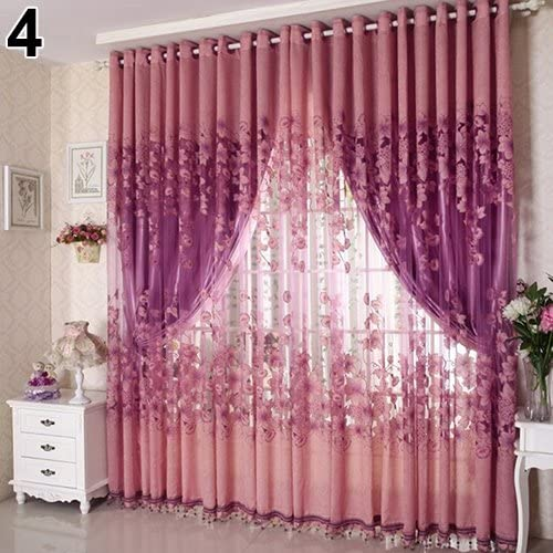 quanjucheer 1/St/ück Fashion Luxus Floral Blumen T/üll T/ür Fenster Vorhang Panel Sheer Querbehang Fall Shading dunkelviolett 100cm x 250cm Polyester