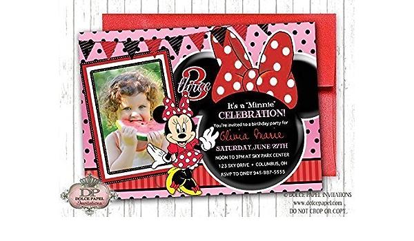 10 Minnie Mouse Birthday Party Invitations Customized Minnie Pocket Party Invite Disney World Birthday Invitation Mickey Mouse Decorations