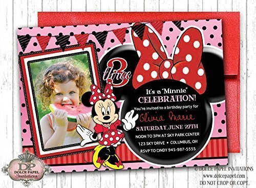 10 Disney Princess MINNIE MOUSE Inspired Red and Pink Birthday Party Invitations (Minnie Mouse Invitations Red)