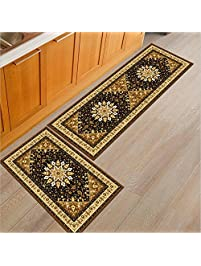 2 Piece Non Slip Kitchen Mat Rubber Backing Doormat Runner Rug Set, Cozinha  Design