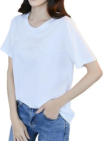 Mujer Camisetas Verano Moda Carta Bordados Camisas Mujer Elegantes Manga Corta Cuello Redondo Ocasional Anchas Basicas Shirts Blusa Tops Ropa Retro: Amazon.es: Ropa y accesorios