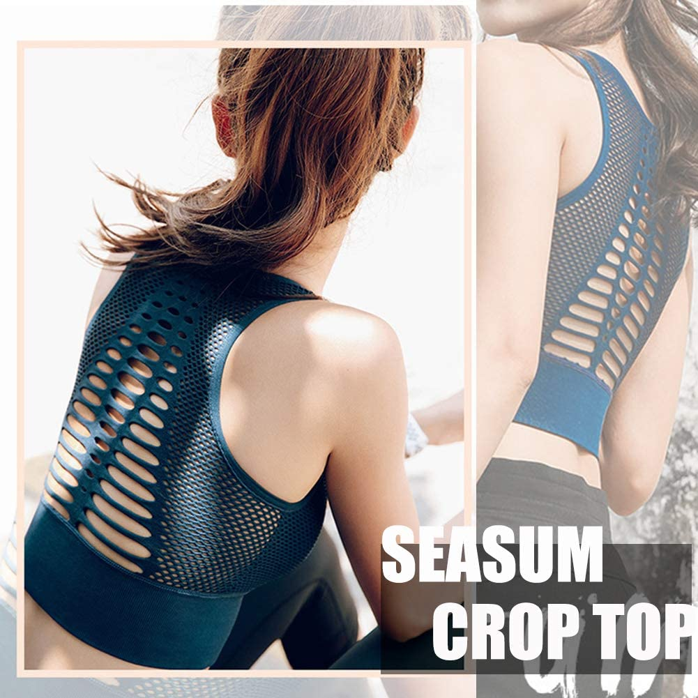 SEASUM High Impact Seamless Sports Bra Women Yoga Bra Crop Tops Workout Fitness Activewear Racerback Padded Shirt
