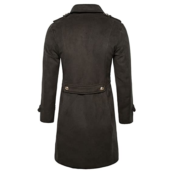 ee5f0a546 YUNCLOS Men's Trench Coat Long Wool Blend Slim Fit Jacket Winter Double  Breasted Overcoat