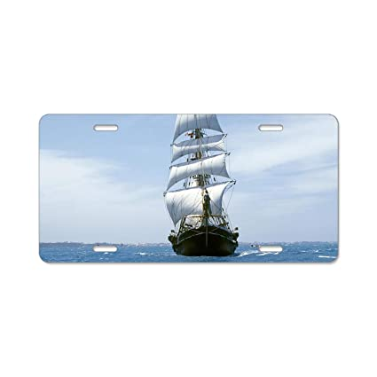 Amazon com: YEX Abstract Sea Sailboat-Ship License Plate Frame Car