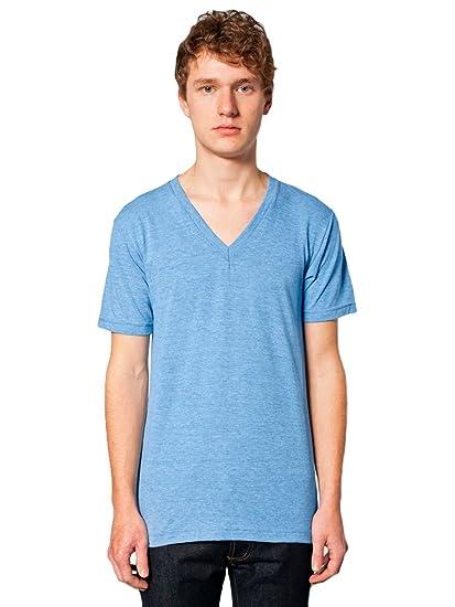 American Apparel Men Tri-Blend V-Neck T-Shirt Size XXS Athletic Blue