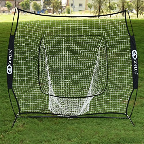 Batting Practice Net - Goplus 7'×7' Baseball & Softball Practice Net Hitting Batting Training Net w/Bow Frame & Carry Bag