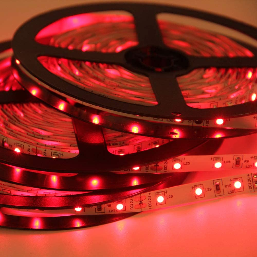 Signcomplex Tira de LED flexible 3528 SMD Cinta de LED con 3M cinta autoadhesiva 5m un carrete 12V DC (Rojo)