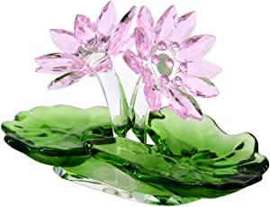 LONGWIN Crystal Lotus Flower Figurine Glass Home Decor Ornaments Paperweight