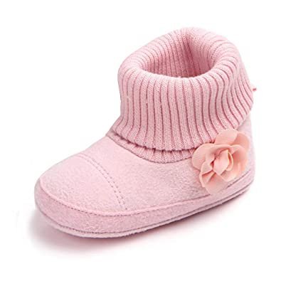 ef27deb588bb5 Z-T FUTURE Unisex Baby Winter Shoes Girls Boys Elastic Cute Crochet Snow  Boots Toddler Girl Crib Shoes 0-18 Months