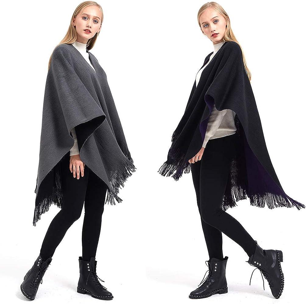 Retro Capes f/ür Damen Cardigans Pullover Umh/ängetuch im Winter Gro/ßer Poncho mit Fransen