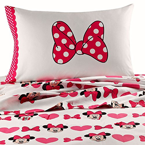 Disney 5pc MINNIE MOUSE Bows & Hearts PiNk Comforter (64'' x 86''), + ONE TWIN Size Sheet Set + One HOODED TOWEL!