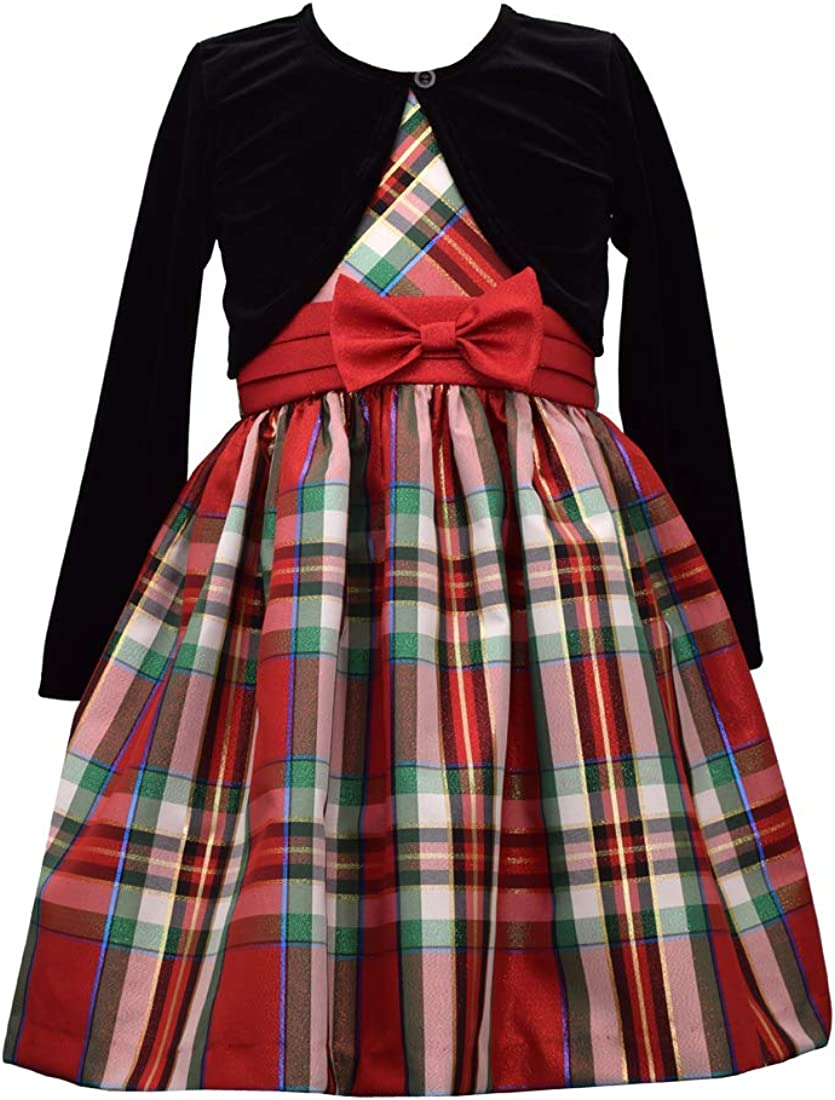 Bonnie Jean Baby Girls Holiday Christmas Dress Red with Plaid Sash for Baby and Toddler