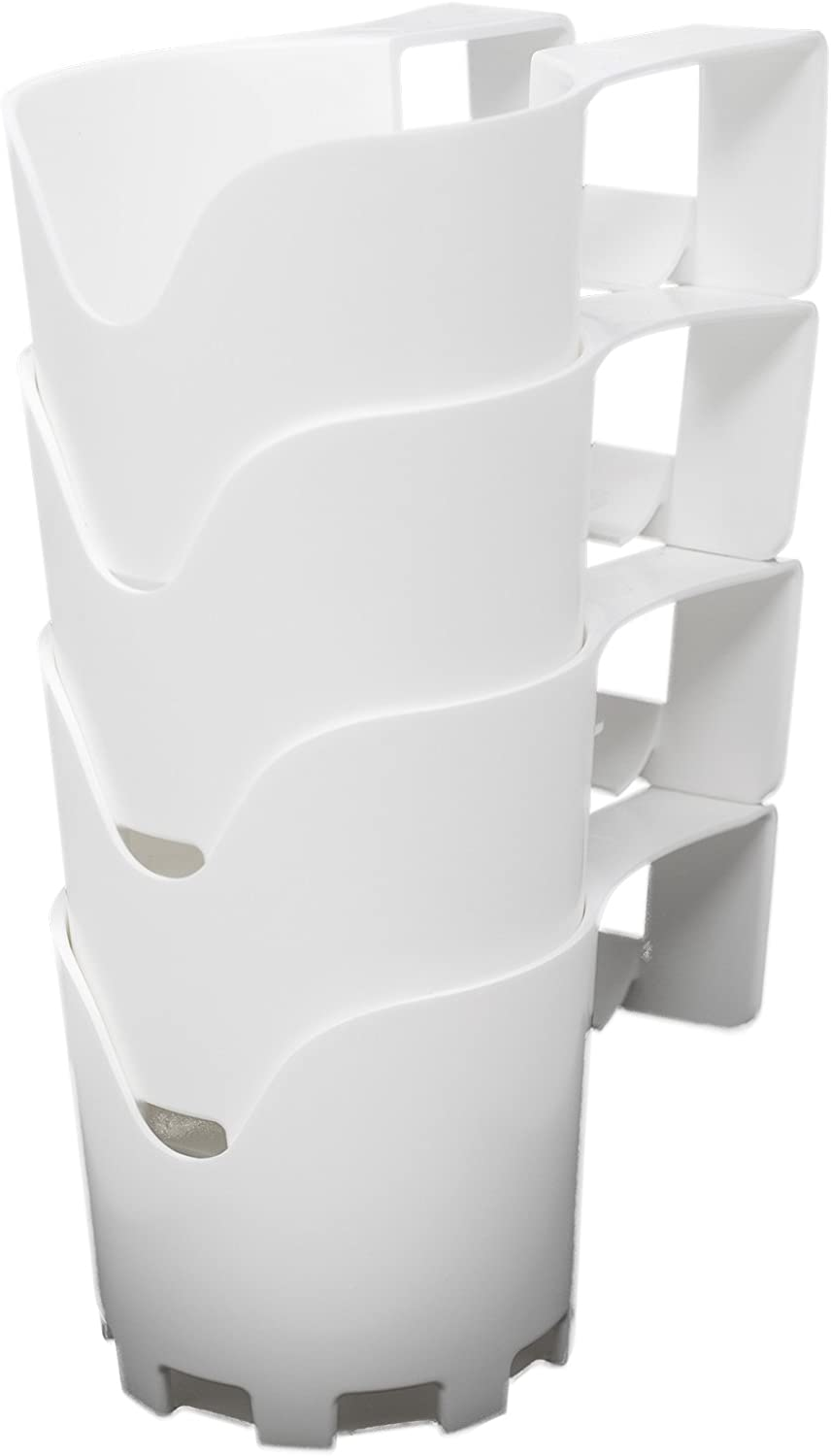 BeraTek Industries Storage Theory | Poolside Cup Holder | Designed for Above Ground Pools | Only Fits 2 inch or Less Round Top Bar | White Color | 4 Pack