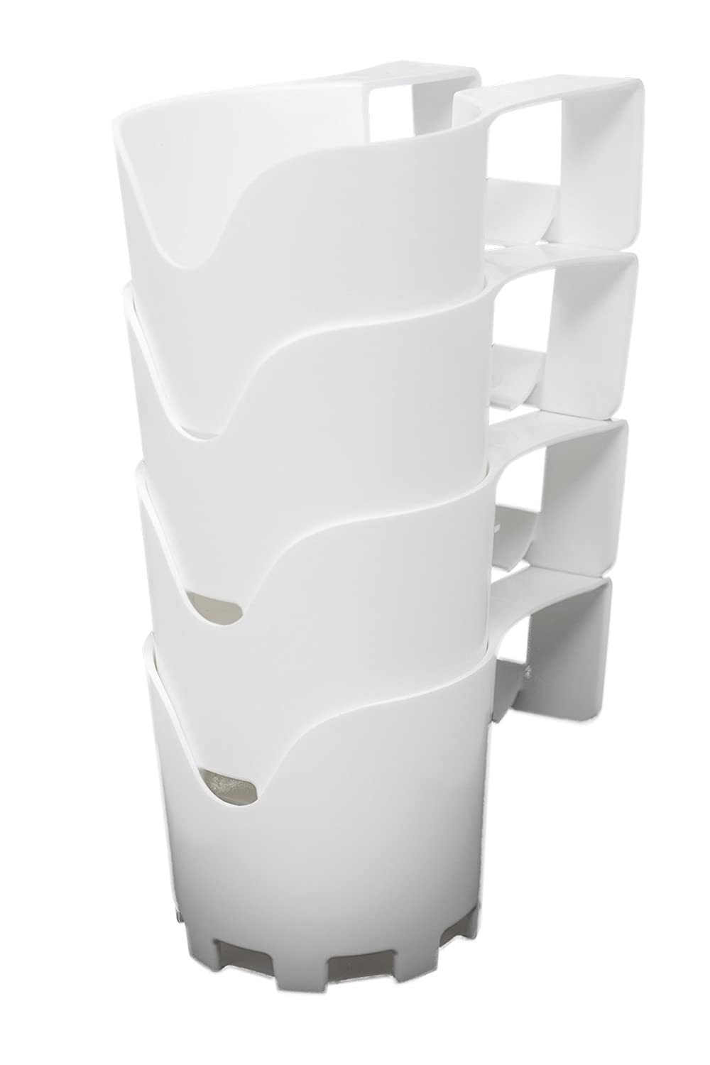 Storage Theory | Poolside Cup Holder | Designed for Above Ground Pools | Only Fits 2 inch or Less Round Top Bar | White Color | 4 Pack