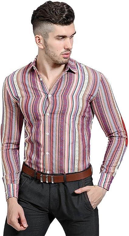 Asdflina Camisas para Hombres Personalidad Étnica Agujero del ...