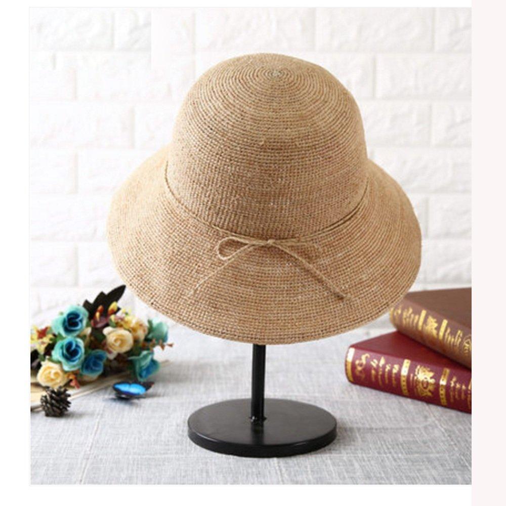 Beige NAN Liang Straw Hat Female Summer Korean Sunscreen Straw Hat Big Beach Hat Travel Sunscreen Shopping Straw Hat Beige Dark Red Navy bluee (color   Beige)