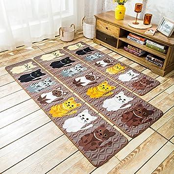 GRENSS Estilo de Dibujos Animados amorosos Gatos Alfombras alfombras para dormitorios Felpudo Antideslizante para el baño/Cocina Entrada Suave Doormate ...