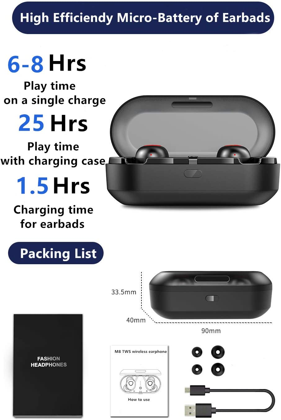 Wireless Earbuds,Simlux Bluetooth 5.0 Headphones TWS Easy-Pair 3D Noise Canceling in-Ear Built-in Mic Earphones,Waterproof Sports Bluetooth Headset with Charging Case Black