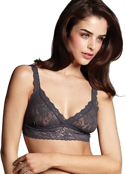 82785508509295 Hanky Panky Womens Signature Lace Crossover Bralette in Granite Size Small