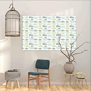 "Decal Stickers for Home Walls Fishes Aquarium Animals Tropical Fishes and Crabs on Seafoam Backdrop Aquatic Doodle Sketch Bedroom Decor 23""x31"""