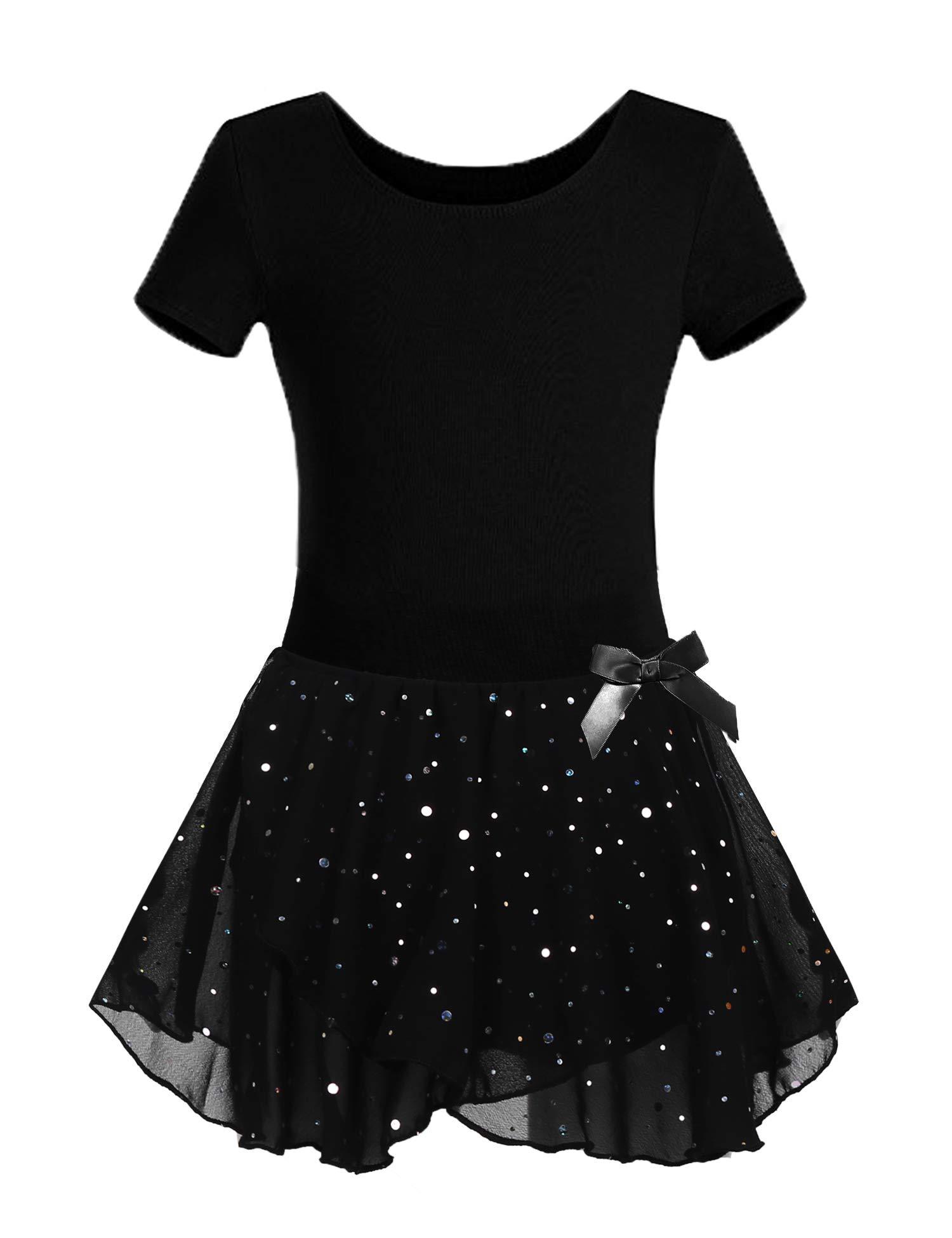 Arshiner Girls Skirted Leotard Sparkle Tutu Ballet Dress Front Lined Black