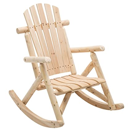 DJL Unfinished Natural Wood Porch Rocker Outdoor Rocking Log Lounge Chair  Companion For Garden Balcony Patio