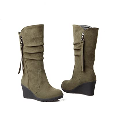 00097116bd4 Inornever Wedges Knee High Boots Women Faux Suede Pull On Round Toe Winter  Wide Mid Calf