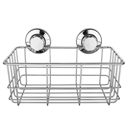 IPegtop Strong Suction Cups Deep Bath Shelf Shower Caddy Rust Free  Stainless Steel Basket Dishrack For