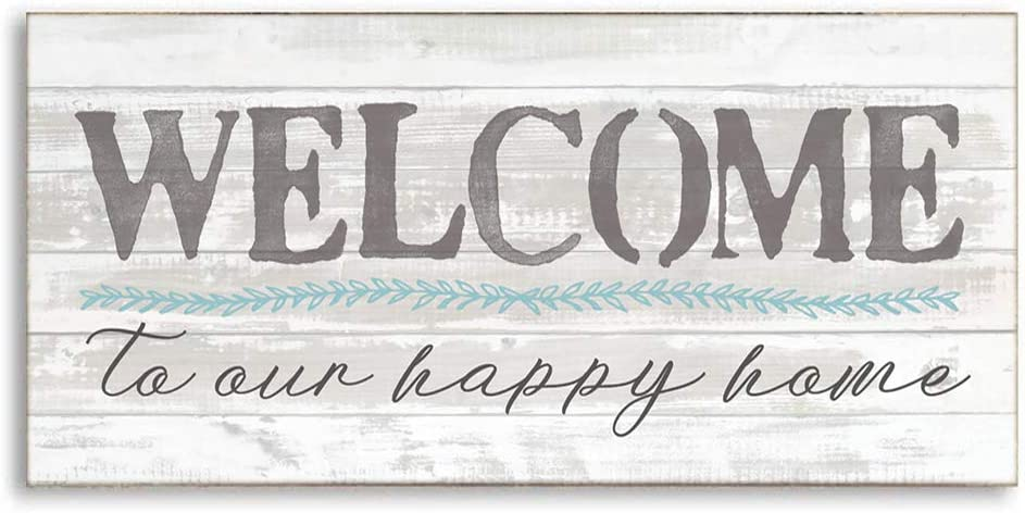 "Welcome to Our Happy Home Wall Sign for Front Door,Porch,Vintage Farmhouse Welcome Sign,Front Door Sign,Welcome Wall Decor 16"" x 8"""