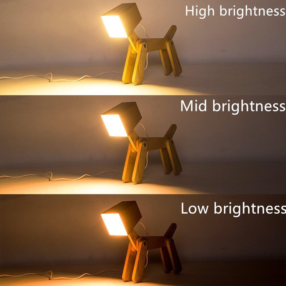 HROOME Moderne Led Design Chien Ajustable Lampe de Table de Chevet Veilleuse Touche Variateur Bois Lampe de Bureau Tactile Enfant Chambre Fille Salon