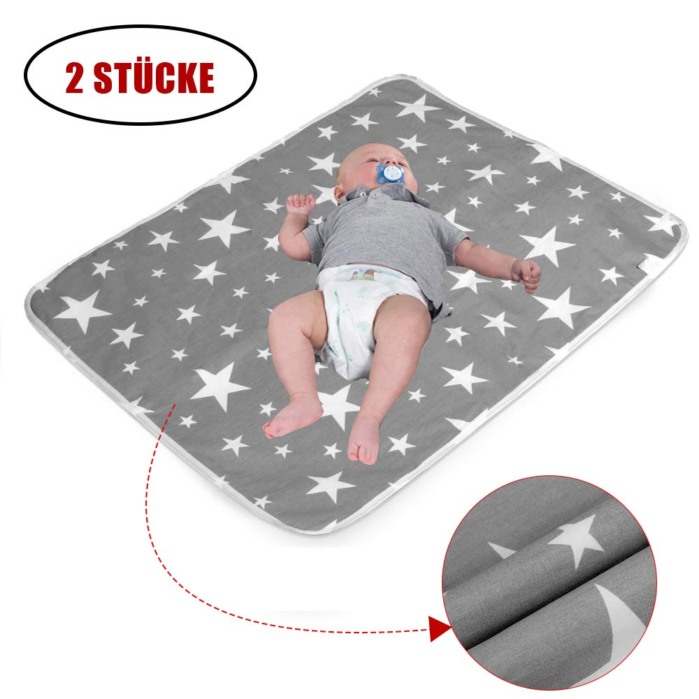 2 Stück Wasserdicht Wickelunterlage für Babys und Kleinkinder - Atmungsaktiv, Waschbar, Wiederverwendbare Urin Matte Abdeckung (M - 50 x 70 cm (2 Stück)) mango-_-bingo