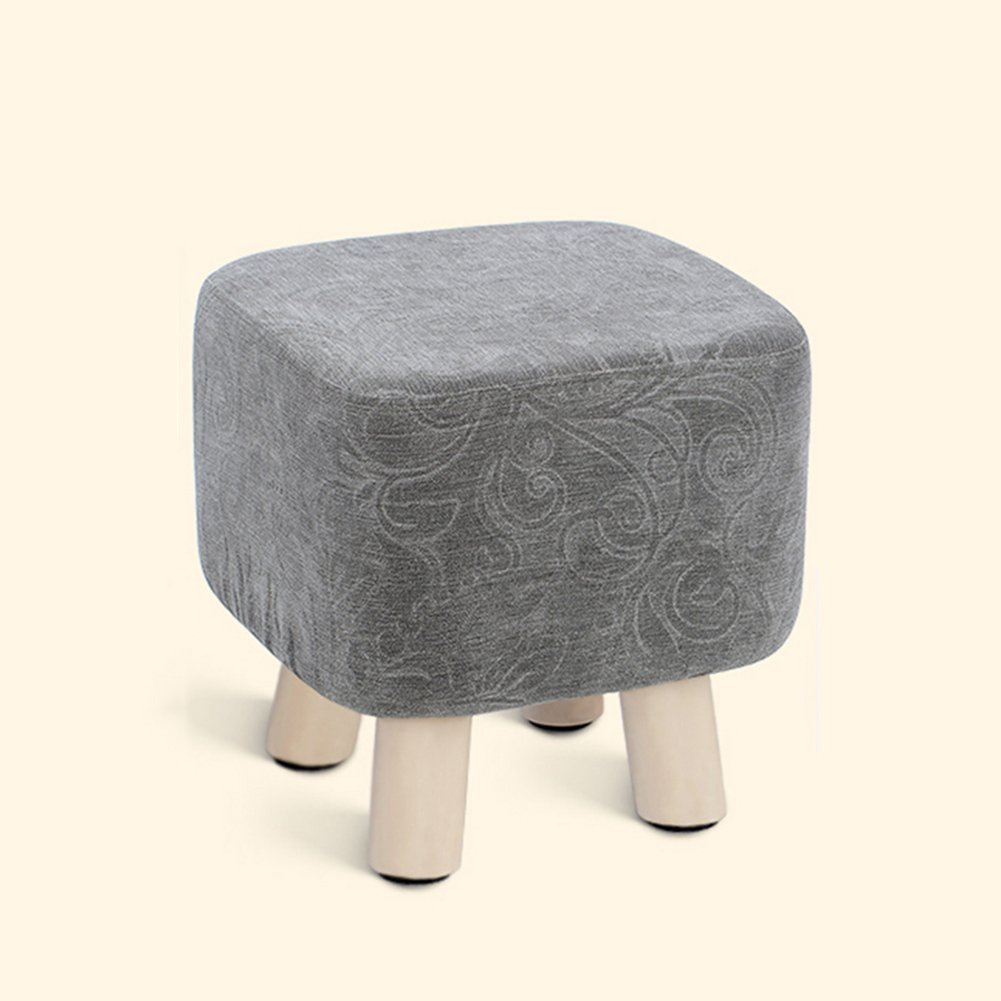 ZEMIN Ottomans Footstool Sofa Stool Chair Seat Coffee Table Soft Solid Wood Legs Cozy Short Change Shoes Square, 7 Colors Available, 28x28x29CM (Color : Gray)