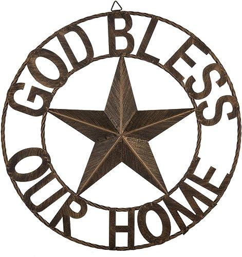 EBEI 26″ Large Metal Barn Star Western Home Wall Decor Antique Circle Dark Brown Texas Lone Star