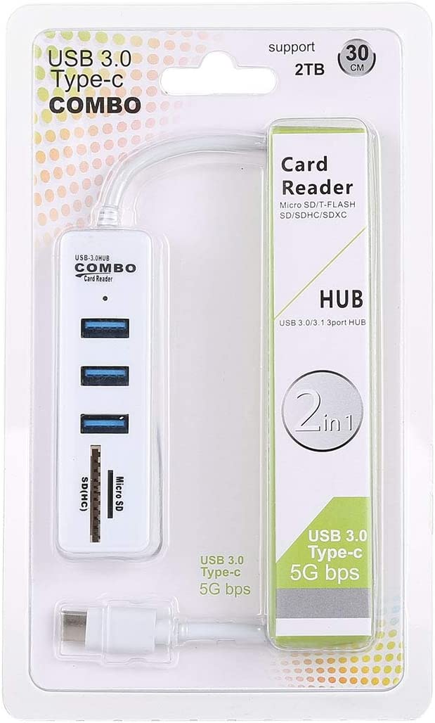 Color : White 3 x USB 3.0 Ports to USB-C//Type-C HUB Converter Cable Length: 26cm MEETBM ZIMO,2 in 1 TF//SD Card Reader Black