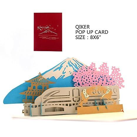 Amazon.com: Pop Up Tarjetas de agradecimiento, 3d Monte Fuji ...