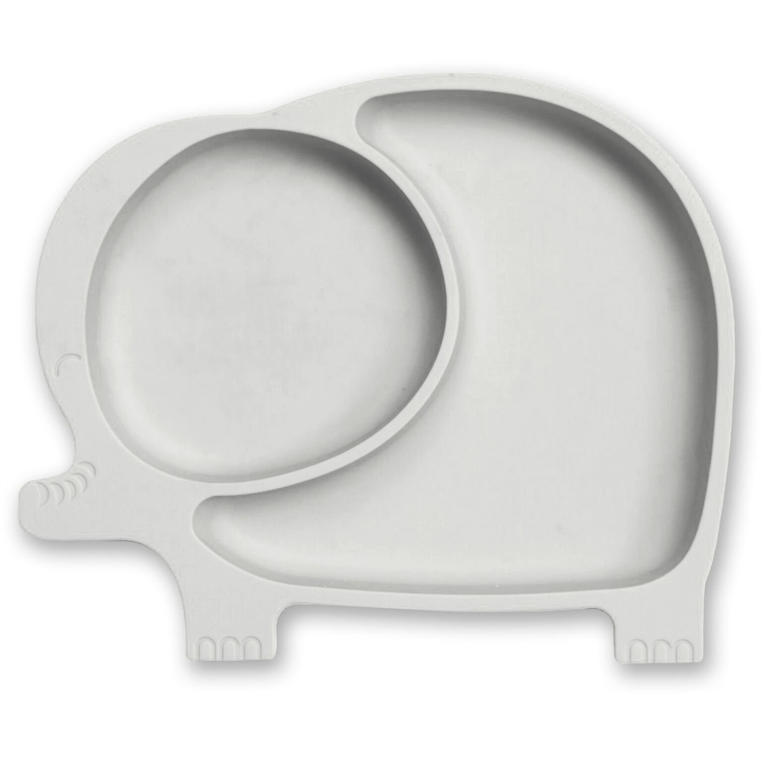 Sage Spoonfuls Sili Elephant Silicone Suction Divided Toddler Plate, Grey by Sage Spoonfuls